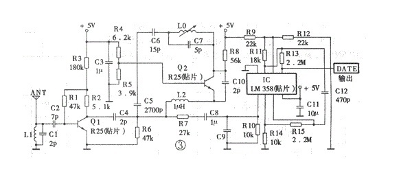 以下是df超再生接收模块的等效电路图